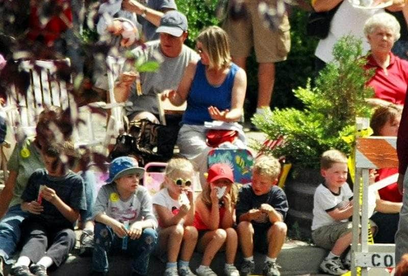 Curb-side seat - Mile-long hometown parade at Bainbridge Island's Grand Old 4th Celebration